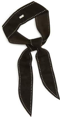 Saint Laurent Studded Leather Skinny Scarf