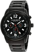 Akribos XXIV Men's AK783BK Multifunction Swiss Quartz Movement Watch with Black Dial and Black Stainless Steel Bracelet