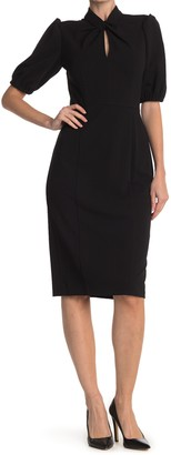 Donna Morgan Twisted Neck Puff Sleeve Dress