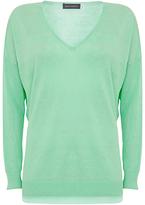 Mint Velvet V-Neck Side Split Linen Knit Jumper, Green