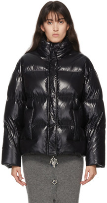 Miu Miu Black Down Logo Contrast Band Puffer Jacket