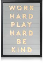 Oliver Bonas Work Hard, Play Hard, Be Kind Foiled Wall Art