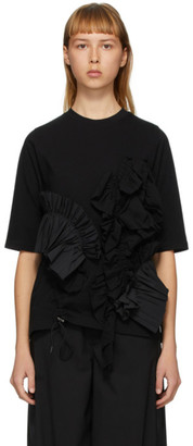 Enfold Black Soft Decorative Pleated T-Shirt