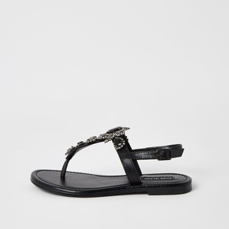 River Island Womens Black embellished toe thong sandal