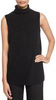 The Row Leona Sleeveless Funnel-Neck Sweater, Black