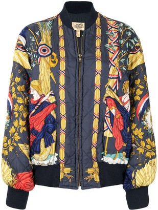 Hermes Printed Quilted Bomber Jacket