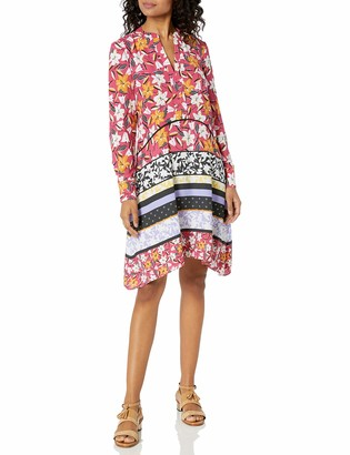 Taylor Dresses Women's Long Sleeve Mixed Floral Print Shirt Dress
