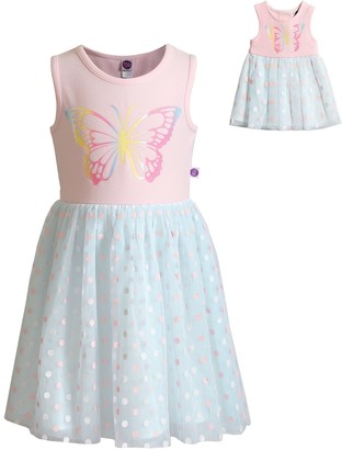 Dollie & Me Girls 4-10 Butterfly Dress with Doll Outfit