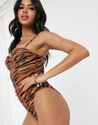 South Beach tiger print high leg swimsuit-Multi
