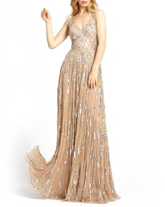 Mac Duggal Sequin Lattice Sleeveless A-Line Gown