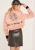 Missguided Pink Graphic Cropped Bomber Jacket