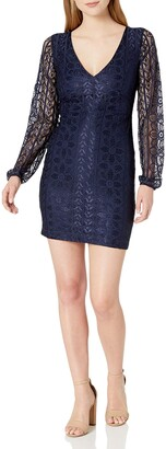 GUESS Women's Navy Floral Mix LACE Dress 0