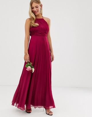 Asos Design DESIGN Bridesmaid pinny maxi dress with ruched bodice-Red