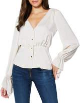 Ramy Brook Karen Satin Long-Sleeve Button-Front Top