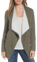 Petite Women's Caslon Asymmetrical Drape Collar Terry Jacket