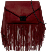 Loeffler Randall Suede Lock Clutch with Fringe