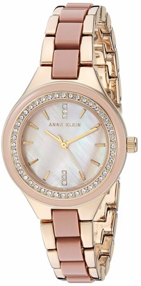 Anne Klein Women's Swarovski Crystal Accented Gold-Tone and Taupe Bracelet Watch AK/3472TPGB