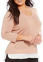 Calvin Klein Plus Lurex Shirttail Hem Sweater