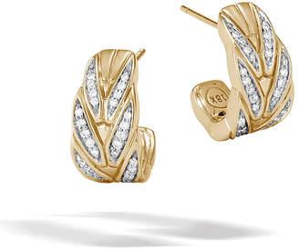 John Hardy 18k Modern Chain Diamond Pave J-Hoop Earrings