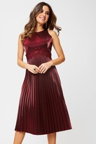 Little Mistress Beatrix Metallic Red Lace-Trim Midi Dress
