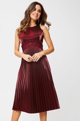 Little Mistress Beatrix Metallic Red Lace-Trim Midi Dress