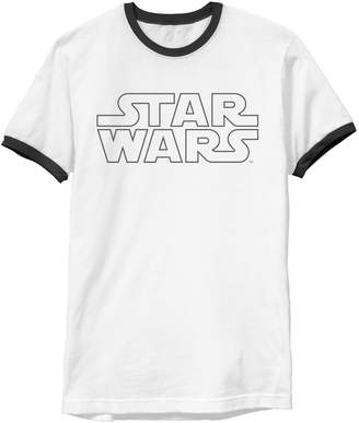 Star Wars Unbranded Men's Simple Logo Outline Ringer Graphic Tee