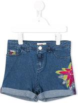 Junior Gaultier floral embroidered denim shorts