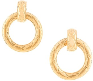 Chanel Pre Owned Quilted Circle Earrings