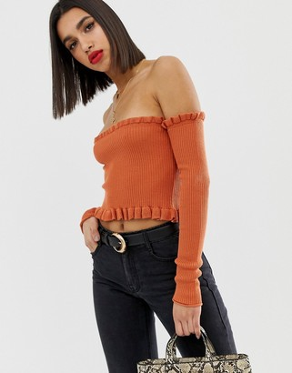 ASOS DESIGN bardot frill edge crop knitted top