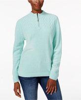 Alfred Dunner Zippered Mock-Neck Sweater
