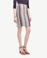 Ann Taylor Racer Stripe Tweed Pencil Skirt