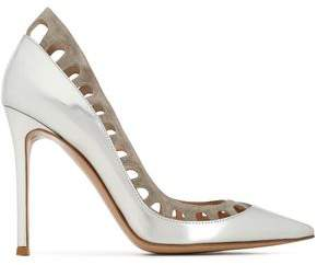 Gianvito Rossi Cutout Suede-Trimmed Mirrored-Leather Pumps