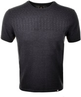 Pretty Green Edale Cable Knit T Shirt Grey