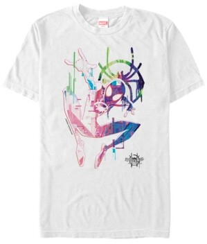 Marvel Men's Spider-Man Into The Spiderverse Neon Watercolor Spider-Man Short Sleeve T-Shirt