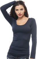Hollywood Star Fashion Long Sleeves Round Scoopneck Tank Top