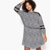 Castaluna Plus Size Straight Ikat Print Dress with Lace Details