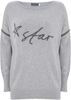 Mint Velvet Handwritten Star Knit Jumper, Light Grey