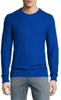 Michael Kors Pique Stitched Cotton Crewneck Sweater, Blue