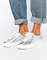 Juicy Couture Bellonaa Silver Flatform Trainers