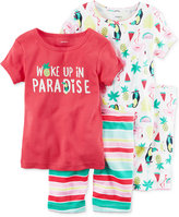 Carter's 4-Pc. Woke Up In Paradise Cotton Pajama Set, Toddler Girls (2T-5T)
