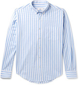 Ami Button-Down Collar Striped Cotton Shirt