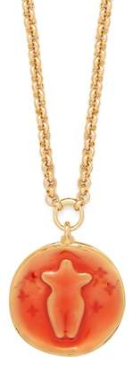Chloé Emoji Gold-tone Pendant Necklace - Womens - Orange