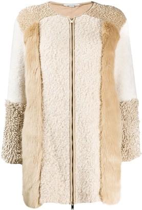Stella McCartney Fur Free Fur zip-up patched jacket