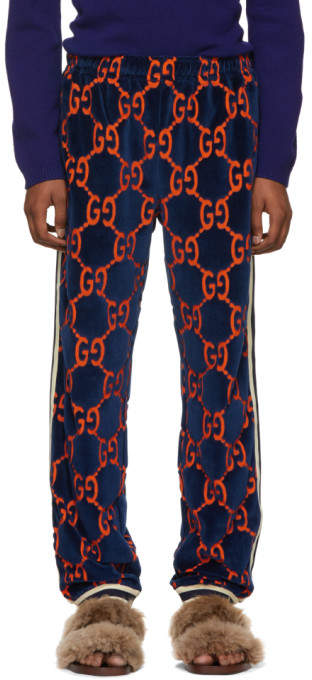 Gucci Navy GG Chenille Lounge Pants