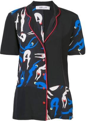 Dvf Diane Von Furstenberg Silhouette Print Blouse