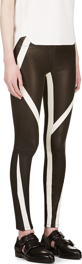 IRO Black Lambskin Graphic Stripe Leggings