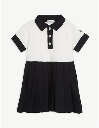 Moncler Polo pleated skirt cotton-blend dress 4-14 years