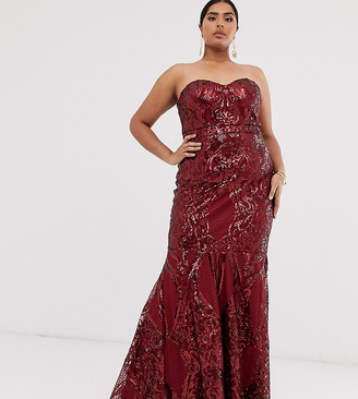 Club L London Plus baroque bandeau sequin maxi dress