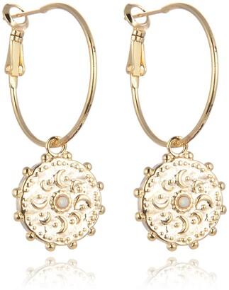 Eye Candy Los Angeles White Opal Celestial Drop Earrings