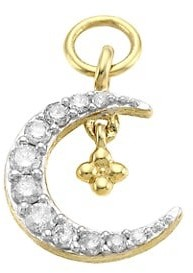 Jude Frances Petites 14K Yellow Gold Pave Diamond Petite Crescent Moon Charm